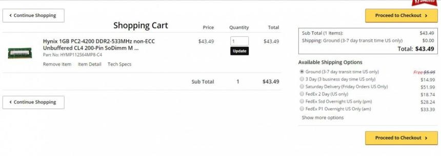Shopping Cart Memory4less Buy RAM Module