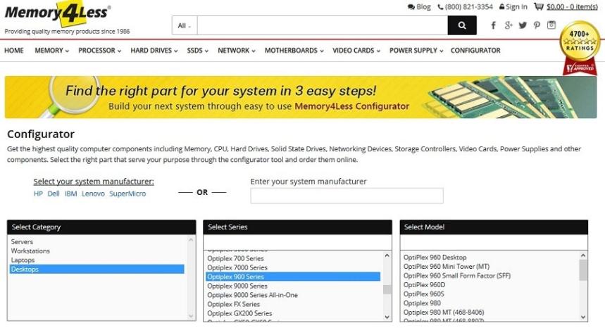 Memory4Less Configurator