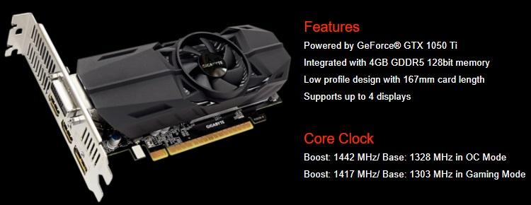 Gigabyte GeForce GTX 1050 Ti Graphic Card GV-N105TOC-4GL