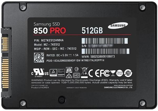 Samsung MZ-7KE512 850 PRO Series 512GB Solid State Drive