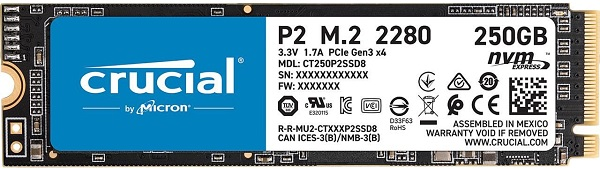 Crucial CT250P2SSD8 P2 Series 250GB NVMe M.2 2280 Solid State Drive