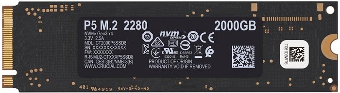 Crucial CT2000P2SSD8 P2 Series 2TB NVMe Solid State Drive