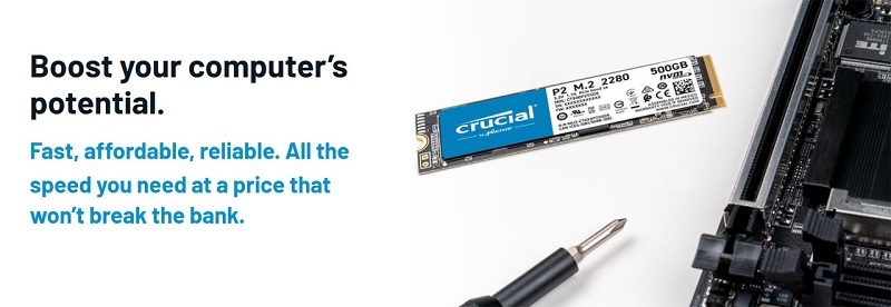 Crucial P2 Series CT500P2SSD8 500GB NVMe M.2 2280 SSD Review